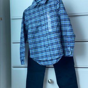 Boys matching set khaki pants & button-down shirt